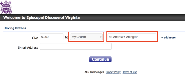 "Portion of web screen with highlighted areas for ""My Church"" and memo line."