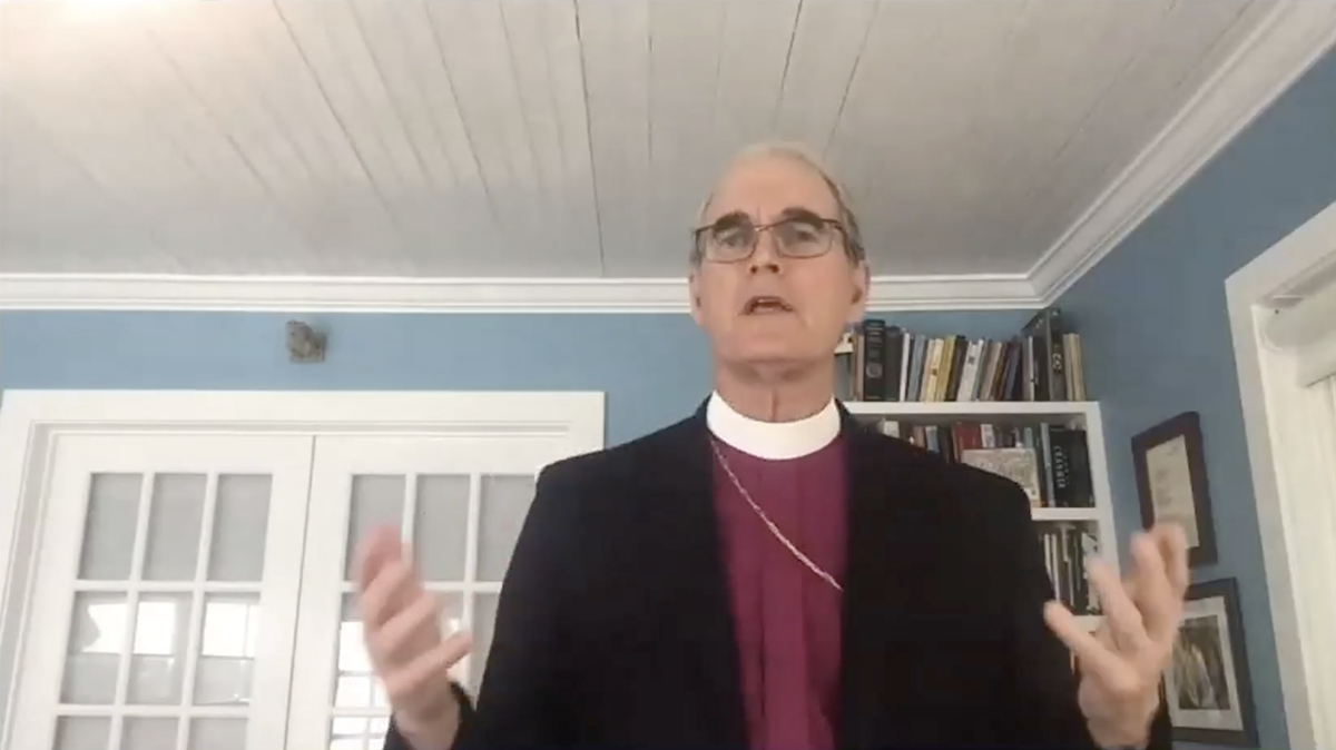 Rt. Rev. Porter Taylor, Assisting Bishop, shown from waist up, delivers sermon via Zoom