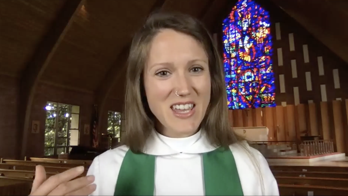 Rev. Dorota Wright-Pruski is shown from the shoulders up as she delivers a sermon via Zoom during a Sunday morning prayer service.