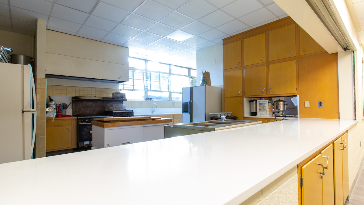 Newly upgraded kitchen serving counter, lower level of church