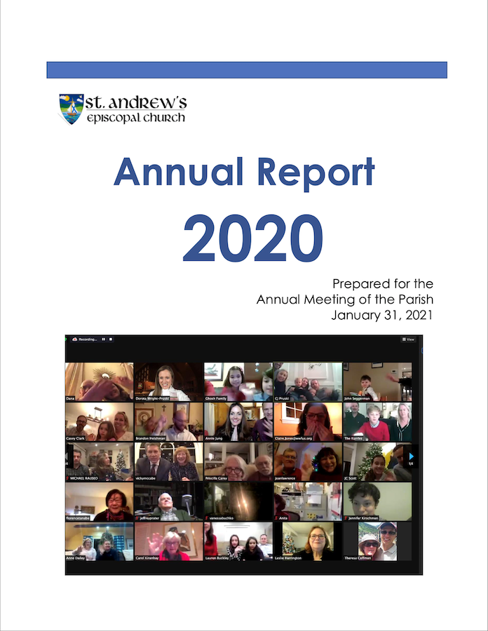 Cover of 2020 Parish Annual Report, shows church members in Zoom gallery view