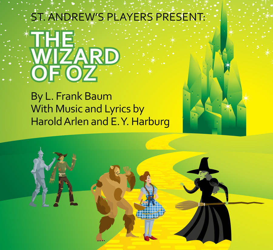 """Illustration shows characters from """"The Wizard of Oz"""" against a background of the yellow brick road and the Emerald City."""